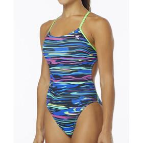 TYR Fresno Cutoutfit Badpak Dames blauw/bont
